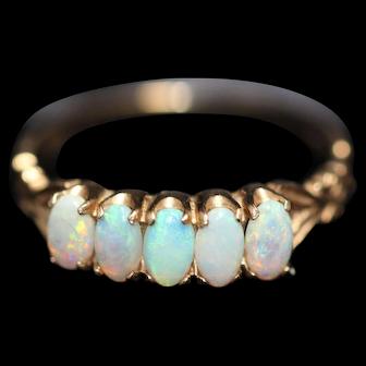 Vintage 9kt  5 white opal ring