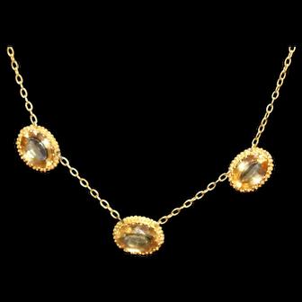 Vintage 10 kt citrine necklace