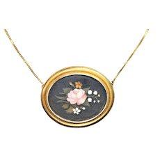 Victorian 15 kt pietra dura pendant on 12kt chain
