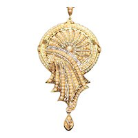 Antique seed pearl pendant in 14kt gold