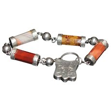 Victorian Scottish agate and silver bracelet with silver and carnelian padlock