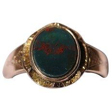 Victorian bloodstone 9kt rose gold signet ring, hallmarked 1861
