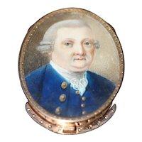 Georgian hand painted miniature of a gentleman, 15kt rose gold bracelet clasp