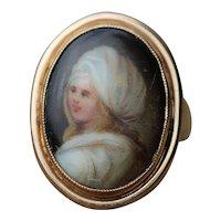Antique 9kt miniature portrait ring