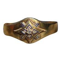 Victorian 18kt gold, diamond and enamel bangle
