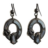Victorian Scottish grey agate earrings, about 1880