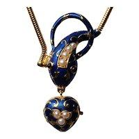 Vintage blue enamel serpent necklace with heart locket