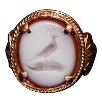 Antique sardonyx intaglio ring, 9kt