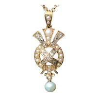 Antique pearl and diamond set 15kt pendant