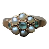 Victorian paste and half pearl ring, 15kt