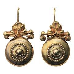 Victorian 15kt disk drop earrings, boxed