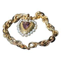 Vintage 18kt bracelet with amethyst and pearl set heart pendant