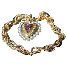 Vintage 18kt bracelet with amethyst and pearl set heart pendant