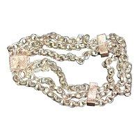Victorian rose gold 9k three strand belcher link bracelet