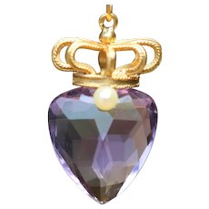 Vintage 18k heart-shaped amethyst & crown pendant, with a 9k chain