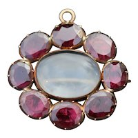 Georgian garnet set rock crystal pendant/brooch, 9k