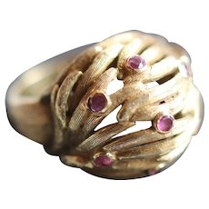 Vintage ruby 18kt gold ring
