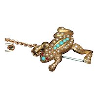 Antique Australian 15k frog brooch, with seed pearls and turquoise