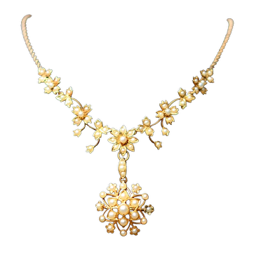 Edwardian 15k seed pearl necklace, with detachable pendant/brooch, boxed
