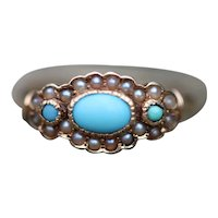 Antique Turquoise and seed pearl set 14k ring
