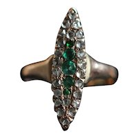 Antique emerald and diamond navette ring, 9kt rose gold