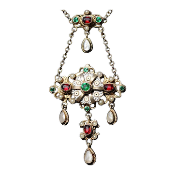 Antique Austro-Hungarian silver gilt drop necklace set with enamel, seed pearls, and paste stones