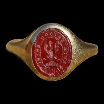 Victorian carnelian intaglio seal ring, 18k