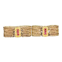 Pair of Georgian pinchbeck woven link bracelets, with red paste