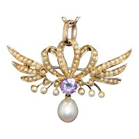 Victorian seed pearl and amethyst brooch/pendant, 15k