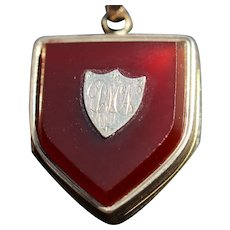 Antique shield pendant/locket, 9k gold