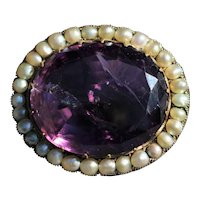 Antique amethyst and seed pearl 9k oval brooch