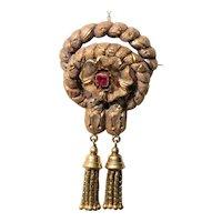 Victorian 18k gold tassel knot brooch