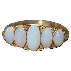 Antique five opal and diamond 18k ring