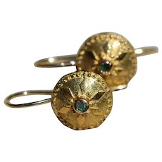 Antique 18k drop earrings, set with emeralds buttons converted into earrings