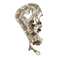 Victorian 9k fancy link guard chain, with glass beads, 15k swivel clasp