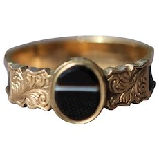 Victorian gold banded agate and woven hair mourning ring