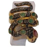 Vintage gem set snake ring
