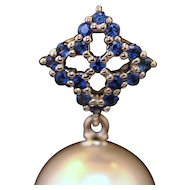 Sapphire and south sea pearl drop 18kt earrings
