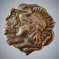 Belle Epoque Sterling Silver Brooch with Maiden of the Sea : Circa 1900