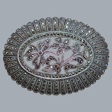 Marcasite and Sterling Brooch Circa 1940