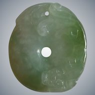 Carved Jadeite Pi with Hydra Dragon, Early Republic Era China