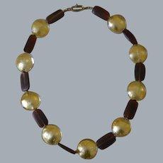 Stunning Roman Style Natural Baltic  Amber and Venetian Glass  24 Karat Gold Coin Necklace : Artisan Made