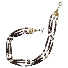 Exotic Freshwater Pearls and Long Pepper Necklace with Gold-filled and 24 Karat Japanese Mizuno beads: Triple Strand