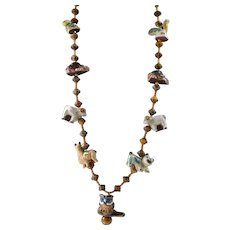 Menagerie Animal Necklace with Swarovski Crystal and Hand Crafted Clay Beads with Vermeil : Set with Earrings