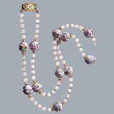 Rose Garden Necklace and Earring Set:  Genuine Venetian Glass , Rose Quartz and Swarovski Crystals