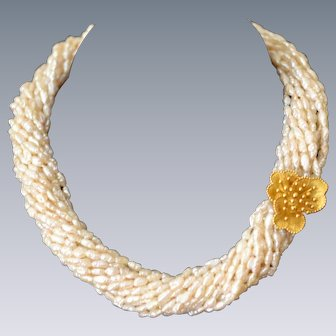 Freshwater Pearl Choker with 18 Karat Gold Blossom Clasp