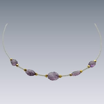 Beautiful Carved Amethyst and Petit Pearl Necklace with Vermeil
