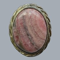 Rhodochrosite and Sterling Silver Brooch, Circa 1950's