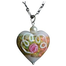 Venetian Glass Wedding Cake Heart with Cultured Pearl and Sterling Silver