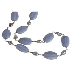 Blue Lace Agate and Freshwater Pearl Suite: Necklace and earrings